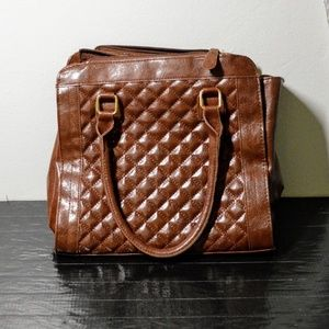 Vtg quilted faux leather brown doctor's bag purse